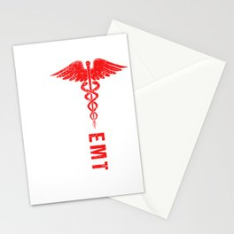 EMT USA Flag America Paramedic Caduceus Nurse Doctor Ambulance Gift Stationery Cards