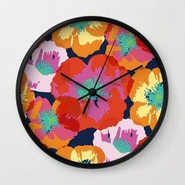 Big Poppies - orange red Wall Clock