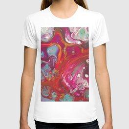 Fluid Nature - Red Nebula - Abstract Acrylic Art T-shirt