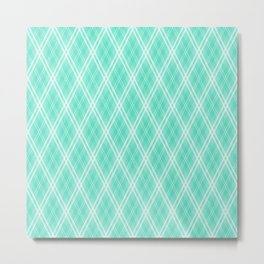 Tiffany Aqua & White Scots Argyle Check PlaidTiffany Aqua & White Scots Argyle Check Plaid Metal Print