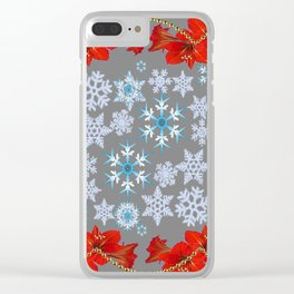 RED AMARYLLIS FLORAL GOLD  GARLAND & SNOWFLAKES  CHRISTMAS ART Clear iPhone Case