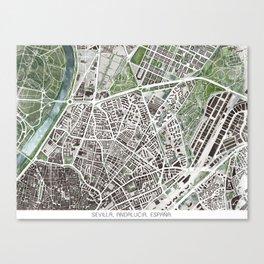 Sevilla city plan Canvas Print