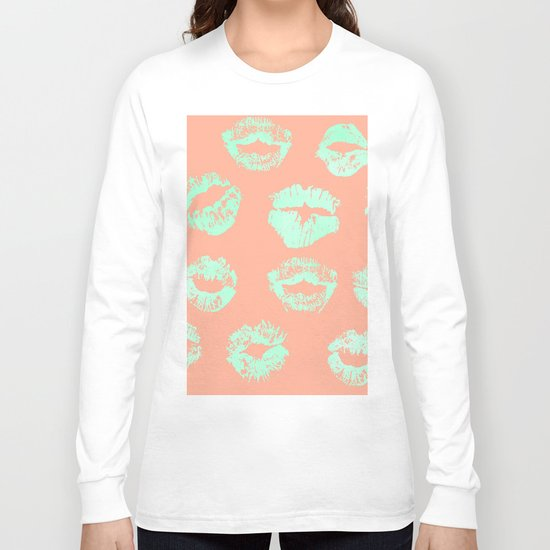 Sweet Life Lips Peach Coral + Mint Meringue Long Sleeve T-shirt