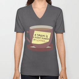 Funny Yawn Silent Scream for Coffee Lover Unisex V-Neck