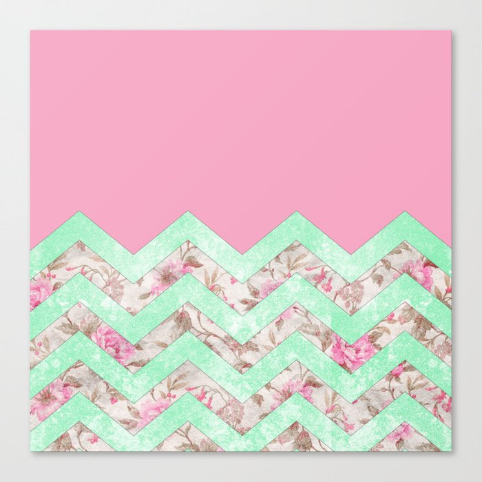 Y Mint Green Pink Fl Block Chevron Pattern Canvas Print