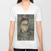 frida kahlo V-neck T-shirts featuring Frida Kahlo by Antonio Lorente