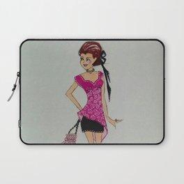 pink chiffon blouse, pink chiffon, pink blouse, fashion illustration, cute fashion, fashionable, Laptop Sleeve