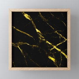 Black faux marble gold accents Framed Mini Art Print