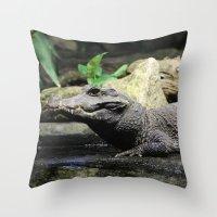 crocodile Throw Pillows featuring Crocodile by Falko Follert Art-FF77
