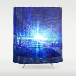 Blue Reflecting Tunnel Shower Curtain