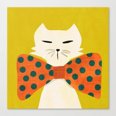 Cat with incredebly oversized humongous bowtie Canvas Print