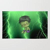 chibi Area & Throw Rugs featuring Chibi Hulk by artwaste