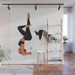 Yogi girl funny headstand - yoga teacher - yoga fun - expectation vs reality Wall Mural