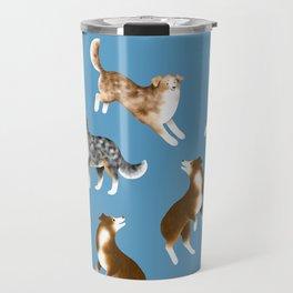 Australian Shepherd Pattern (Blue Background) Travel Mug