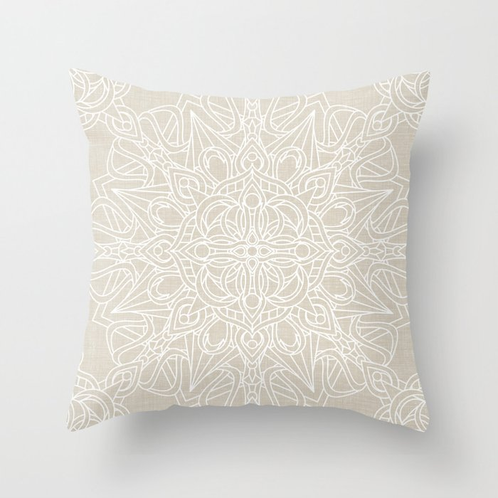 Ivory Lace Throw Pillow : White Lace Mandala on Antique Ivory Linen Background Throw Pillow by kellydietrich Society6