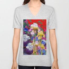 Decorative Spring  Garden Yellow & Pink Iris in Blue-Red Unisex V-Neck