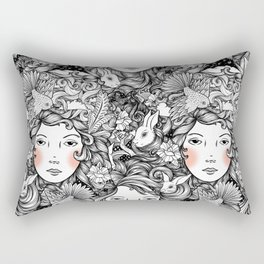 Fantails and Rabbits Ink Design Rectangular Pillow
