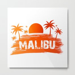 Malibu California retro sunset Metal Print
