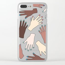 Nail Expert Studio - Colorful Manicured Hands Pattern Clear iPhone Case