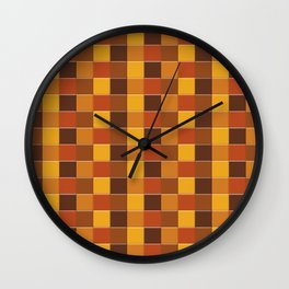 Checkered Pattern in Shades of Fall Wall Clock
