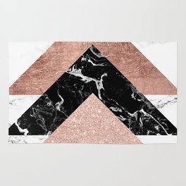 Modern rose gold glitter foil black white marble geometric minimalist triangles color block Rug
