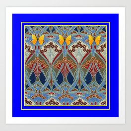 Ornate blue & Yellow Art Nouveau Butterfly Red Designs Art Print
