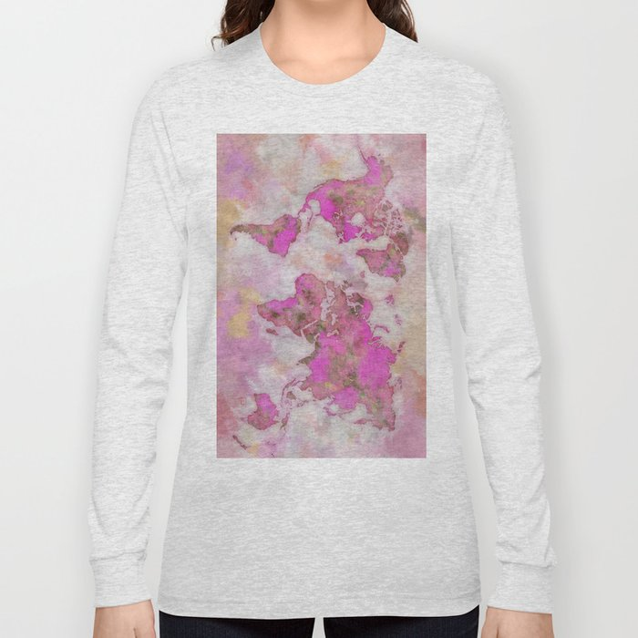 World Map Violet Long Sleeve T-shirt
