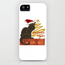 Joyeux Noel Le Chat Noir With Stylized Golden Tree iPhone Case
