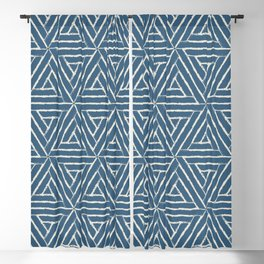 Linen White & Blue Aztec Tribal Triangle Pattern Pairs To 2020 Color of the Year Chinese Porcelain Blackout Curtain