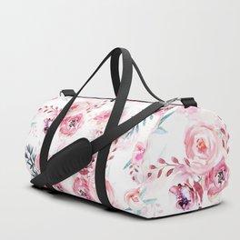 Pink Watercolor Florals I Duffle Bag