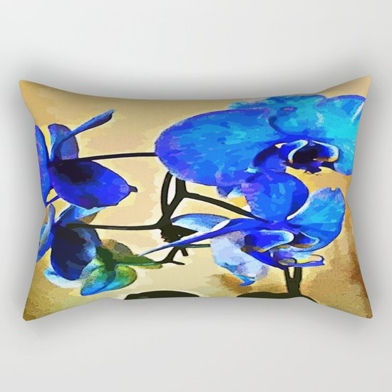 Painted Blue Orchid Rectangular Pillow