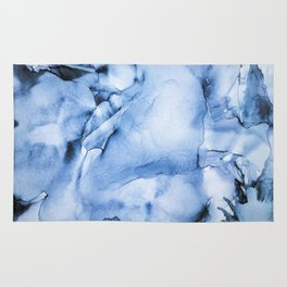Sapphire Abstract Art   Painting   Watercolour   Splatter   Ocean Vibes Rug