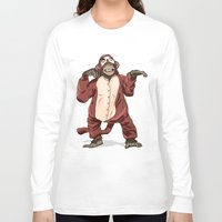 onesie Long Sleeve T-shirts featuring Monkey Onesie by Alex Terry