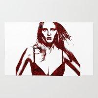 lara croft Area & Throw Rugs featuring Lara Stone Calvin Klein Fashion by fashionistheonlycure