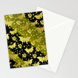 golden butterflies, small asian flowers on black background Stationery Cards