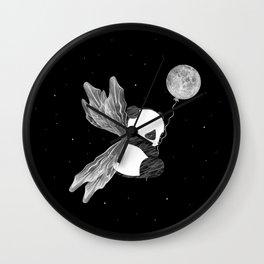 Space Angel Panda Bear - black and white Wall Clock