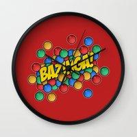 bazinga Wall Clocks featuring Bazinga! by Skeleton Jack