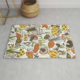 Hand-drawn Mushrooms Rug