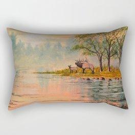 Elk Beside A misty River Rectangular Pillow