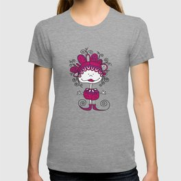 Doodle Doll with Curls on Pink Background T-shirt