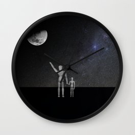 Wooden Anatomy Doll Father Points to Moon with Child Wall Clock
