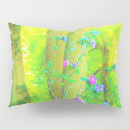 Hot Pink Abstract Rose of Sharon on Bright Yellow Pillow Sham