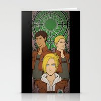 shingeki no kyojin Stationery Cards featuring Shingeki no Kyojin - Trio card by kamikaze43v3r
