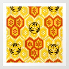 Vintage Asian Geometric Bee Hive Pattern Design Art Print