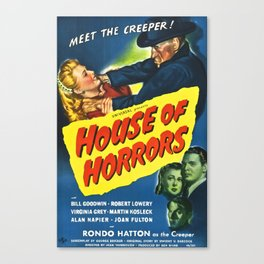 House of Horrors, Meet the Creep, vintage horror movie poster Canvas Print