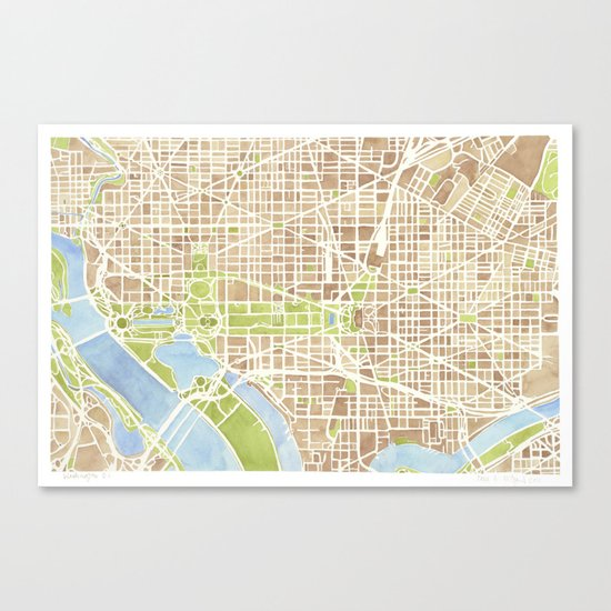 Washington DC watercolor city map Canvas Print