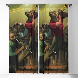 Tribute to 'Harlem Jazz' African American Harlem portrait painting Blackout Curtain