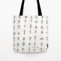robots Tote Bags featuring robots by Julia Heffernan