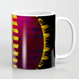 Red Layered Star in Golden Flames Coffee Mug
