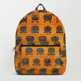 Maya Calendar Glyphs pattern orange and blue Backpack